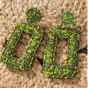 Olive Beaded Earrings
